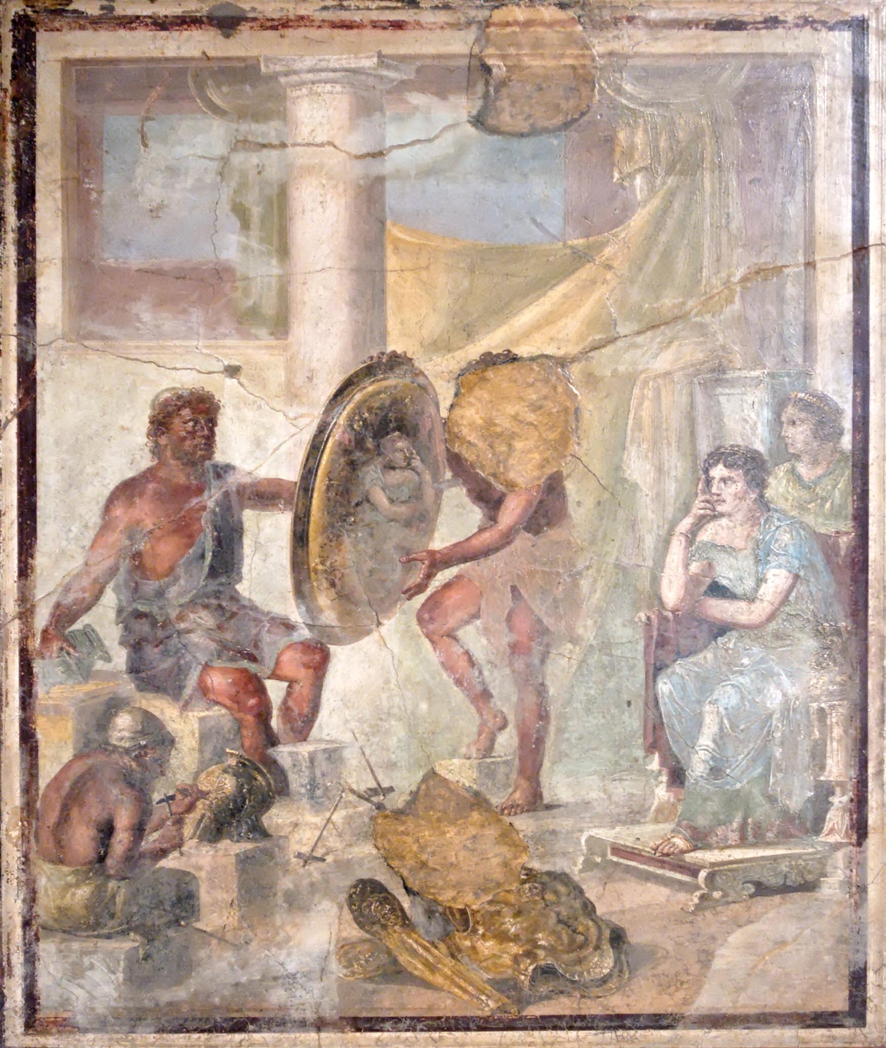 Teti attende le armi di Achille nella fucina di Efesto - Affresco romano della Casa del Triclinio a Pompei - Museo archeologico - Napoli